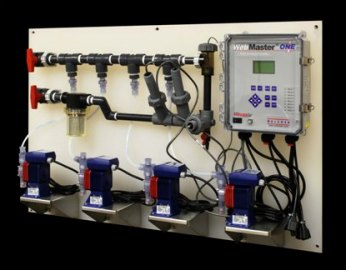 Walchem panel-mounted Webmaster controller with conductivity, pH or ORP sensor. Piping manifold has inlet and outlet valves, strainer, injection tees, Walchem sensor fittings and flow switch. Four Walchem EZB pumps are supplied